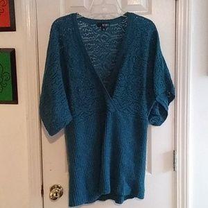 1X A.N.A. Sweater Teal w/ Metallic